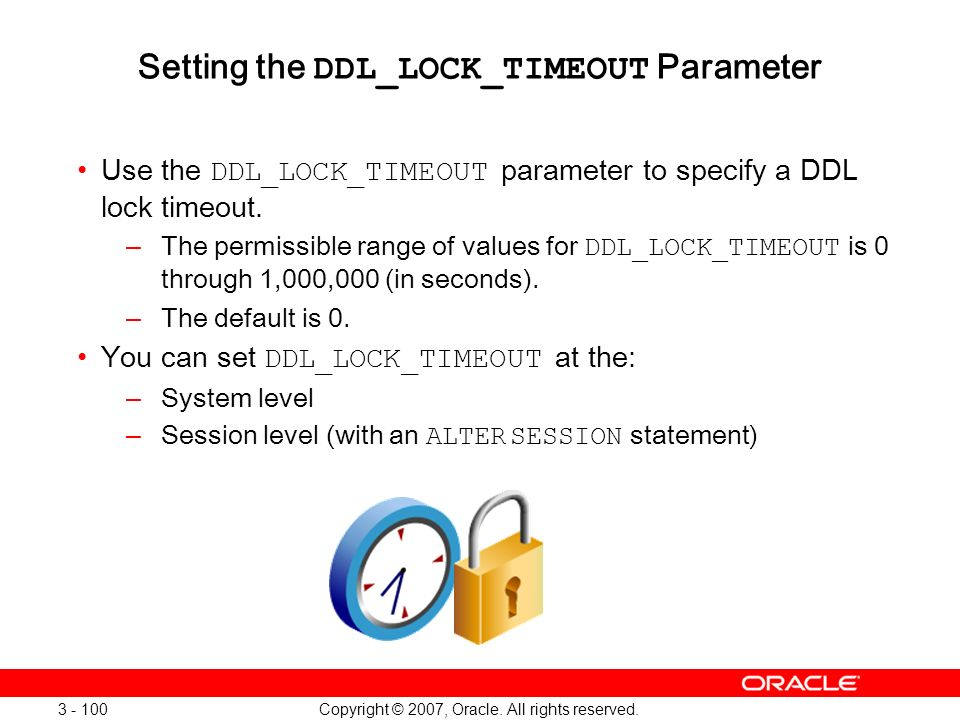 Setting the DDL_LOCK_TIMEOUT Parameter