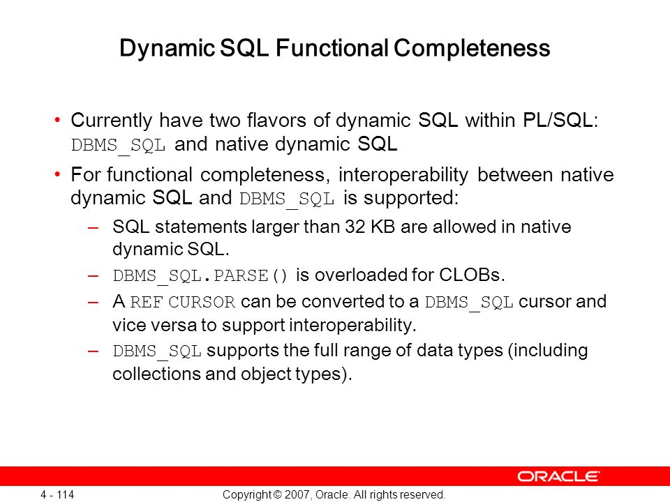 Dynamic SQL Functional Completeness