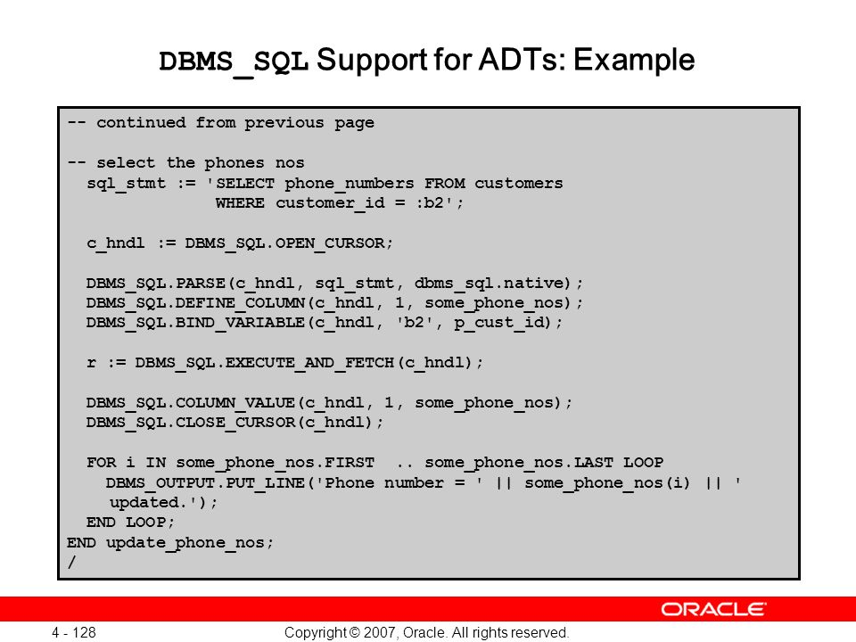 DBMS_SQL Support for ADTs: Example