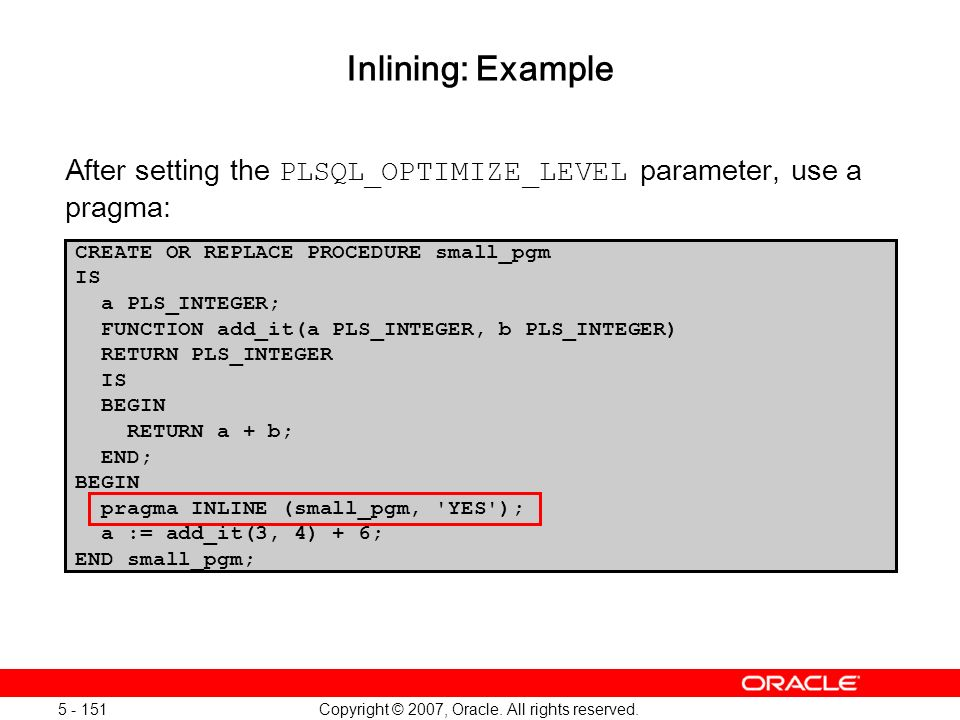 Oracle Database 11g: SQL and PL/SQL New Features 1 - 151