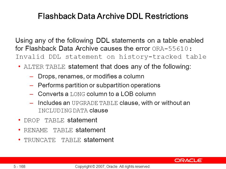 Flashback Data Archive DDL Restrictions