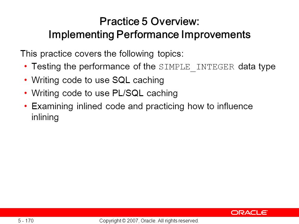 Practice 5 Overview: Implementing Performance Improvements