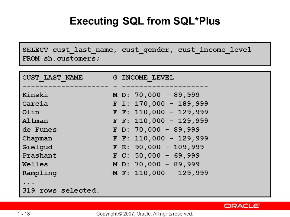 Executing SQL from SQL*Plus