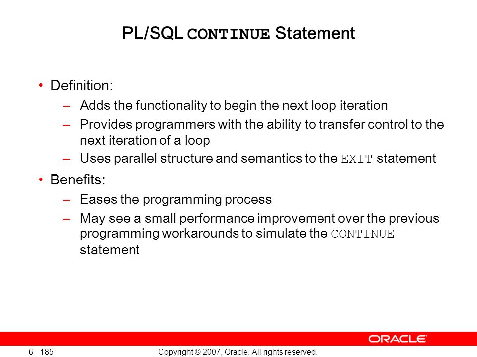 PL/SQL CONTINUE Statement