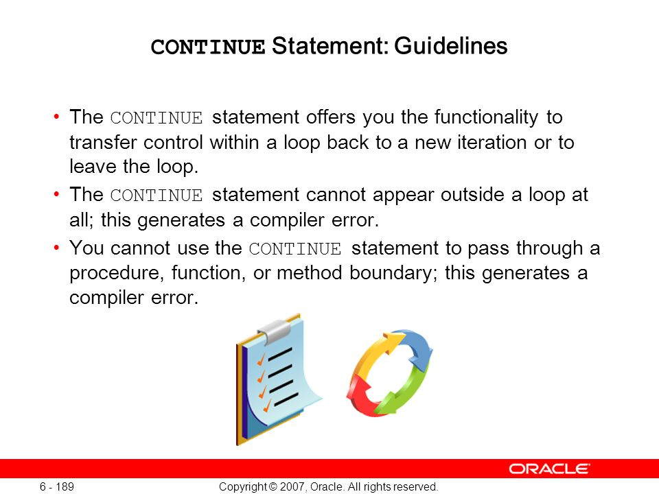CONTINUE Statement: Guidelines