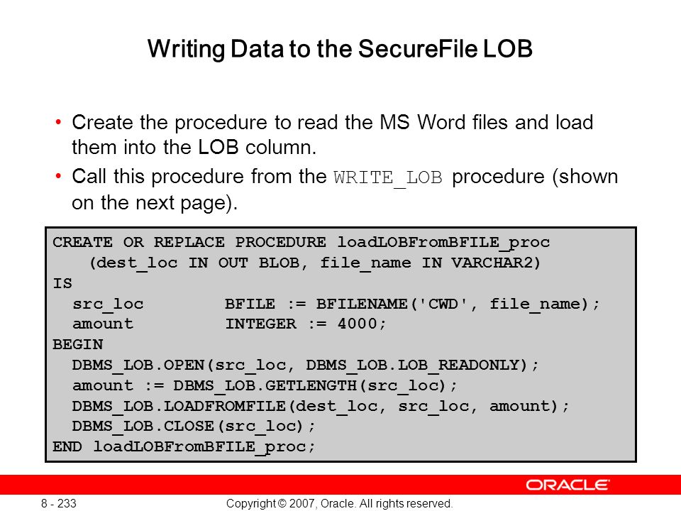 Writing Data to the SecureFile LOB