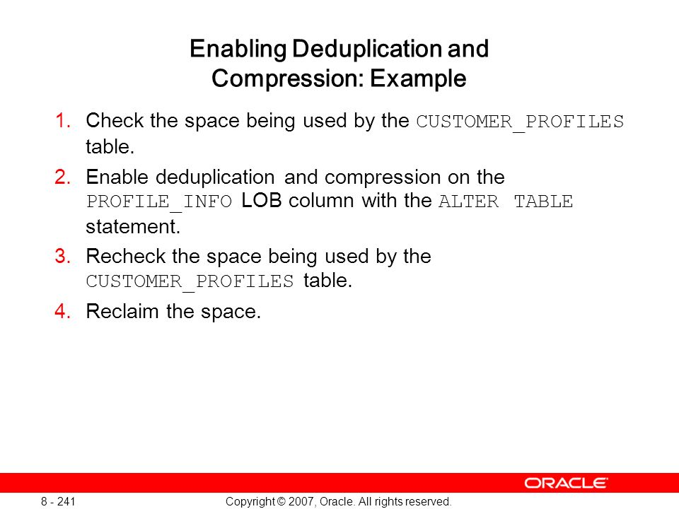 Enabling Deduplication and Compression: Example