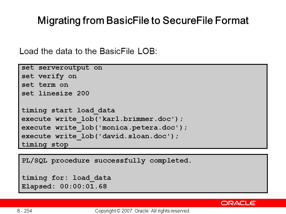 Migrating from BasicFile to SecureFile Format