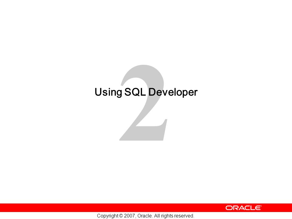 Using SQL Developer