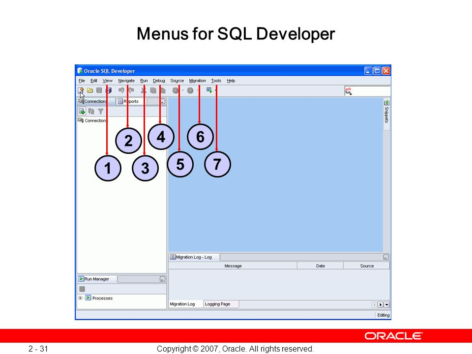 Menus for SQL Developer