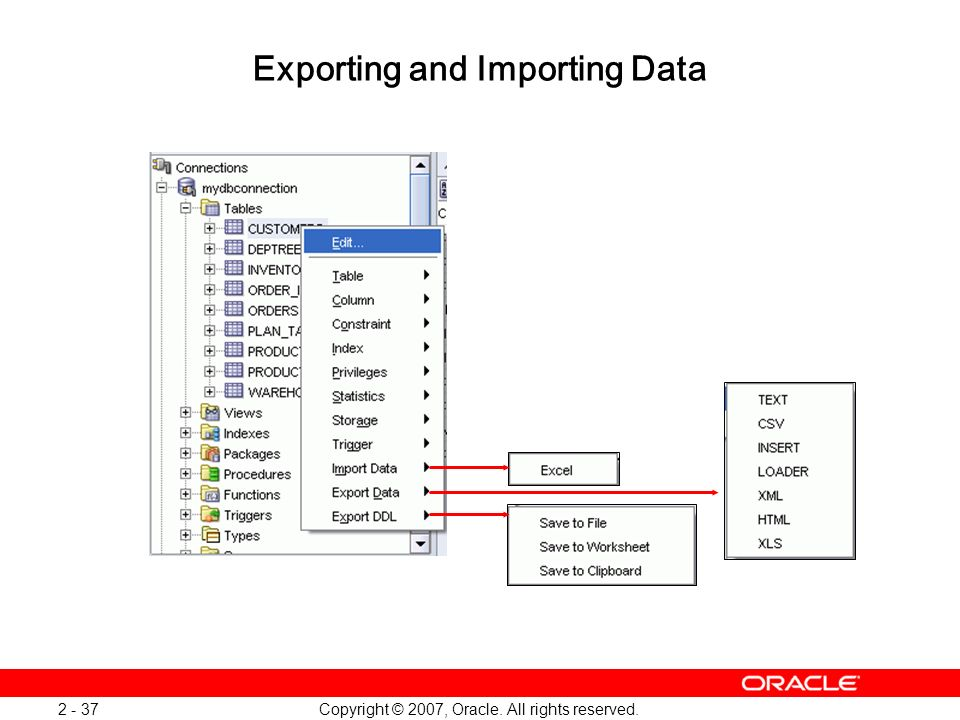 Exporting and Importing Data