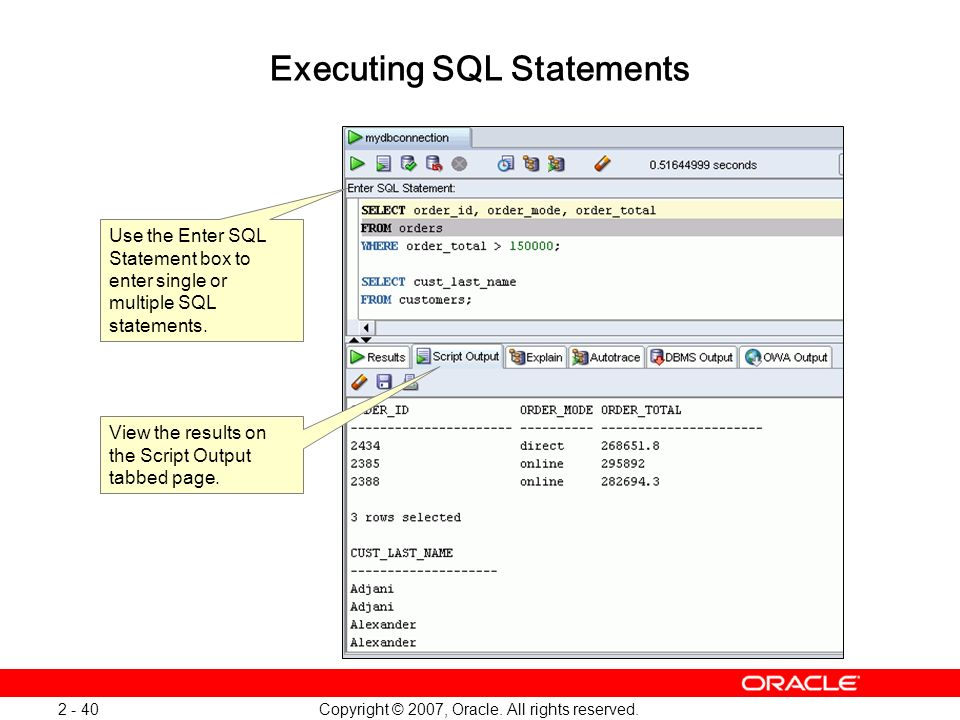 Executing SQL Statements