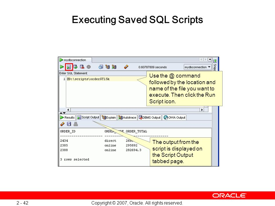 Executing Saved SQL Scripts
