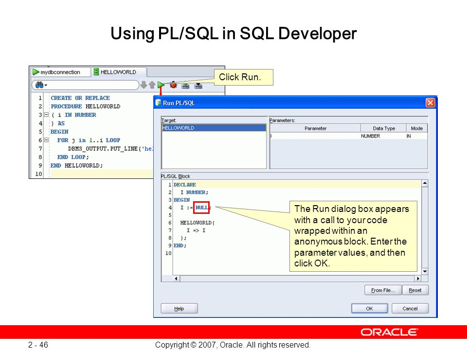 Using PL/SQL in SQL Developer