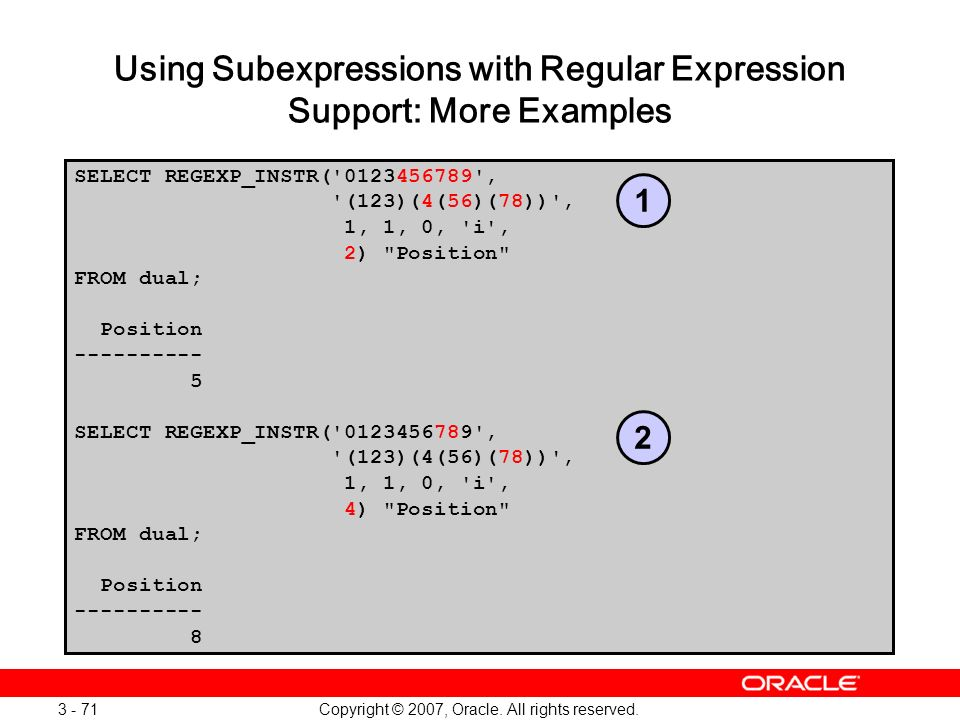 Using Subexpressions with Regular Expression Support: More Examples