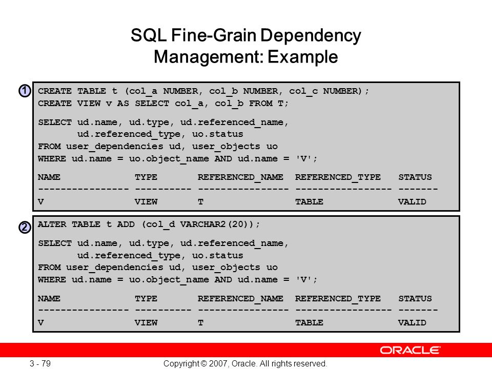 SQL Fine-Grain Dependency Management: Example