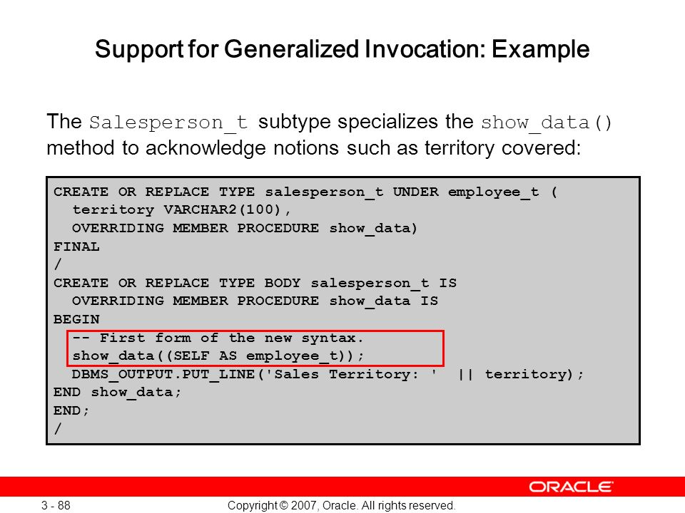 Support for Generalized Invocation: Example