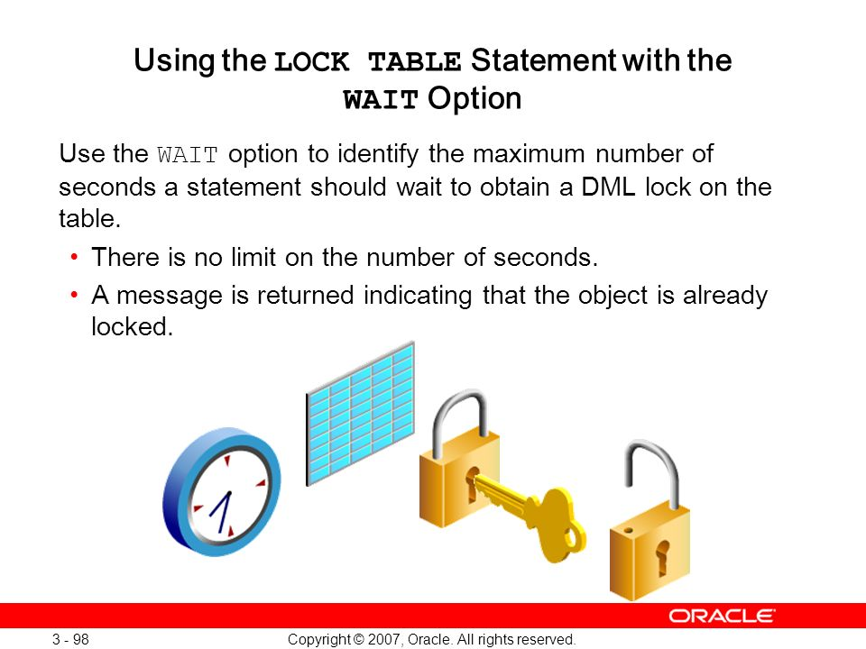 Using the LOCK TABLE Statement with the WAIT Option