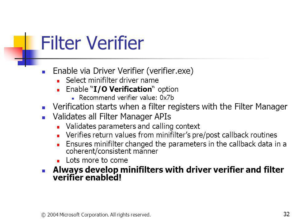 Filter Verifier Enable via Driver Verifier (verifier.exe)
