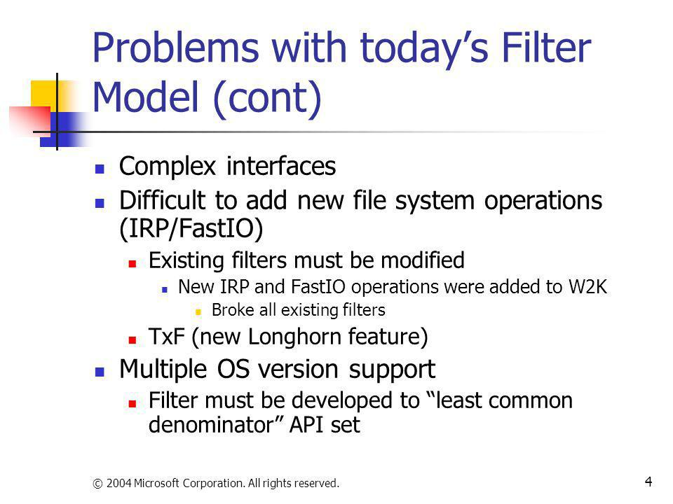 Problems with today's Filter Model (cont)