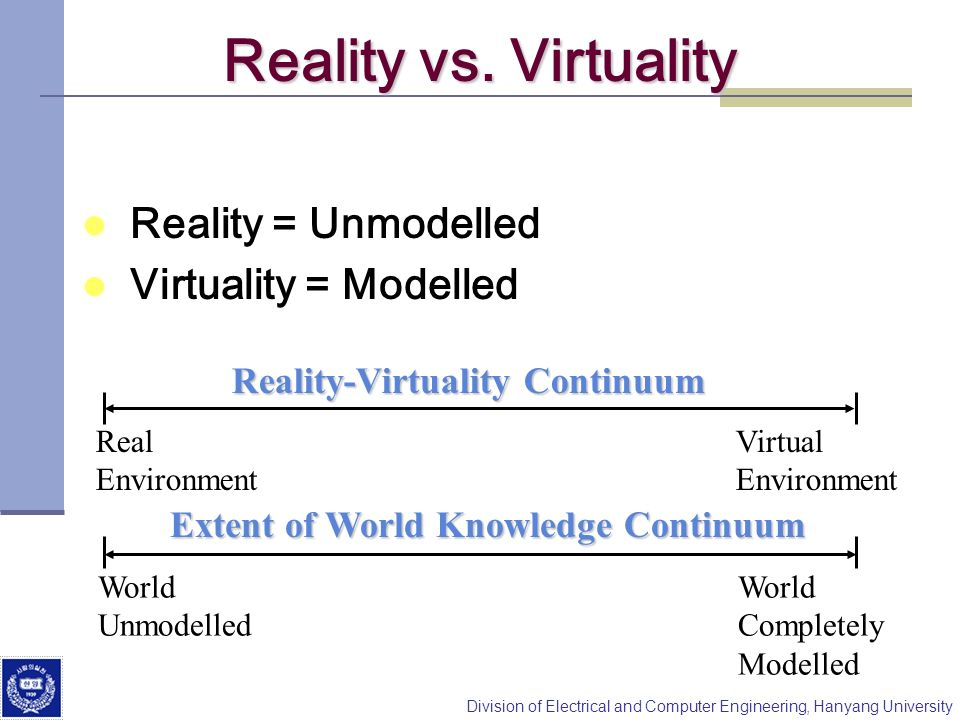 Reality vs. Virtuality Reality = Unmodelled Virtuality = Modelled