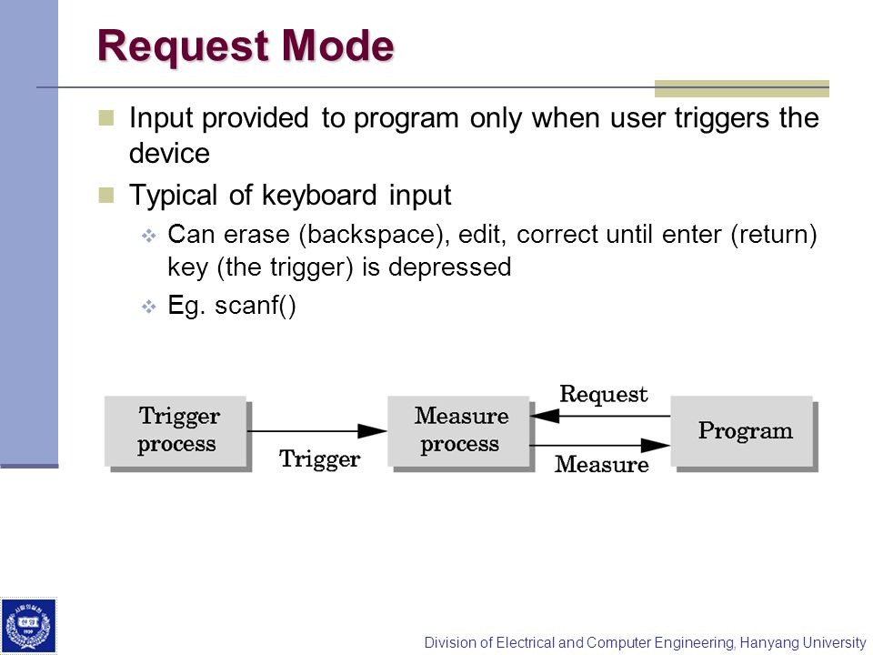 Request Mode Input provided to program only when user triggers the device. Typical of keyboard input.