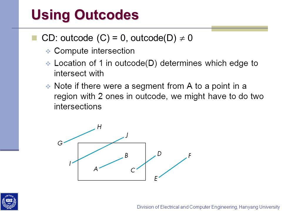 Using Outcodes CD: outcode (C) = 0, outcode(D)  0