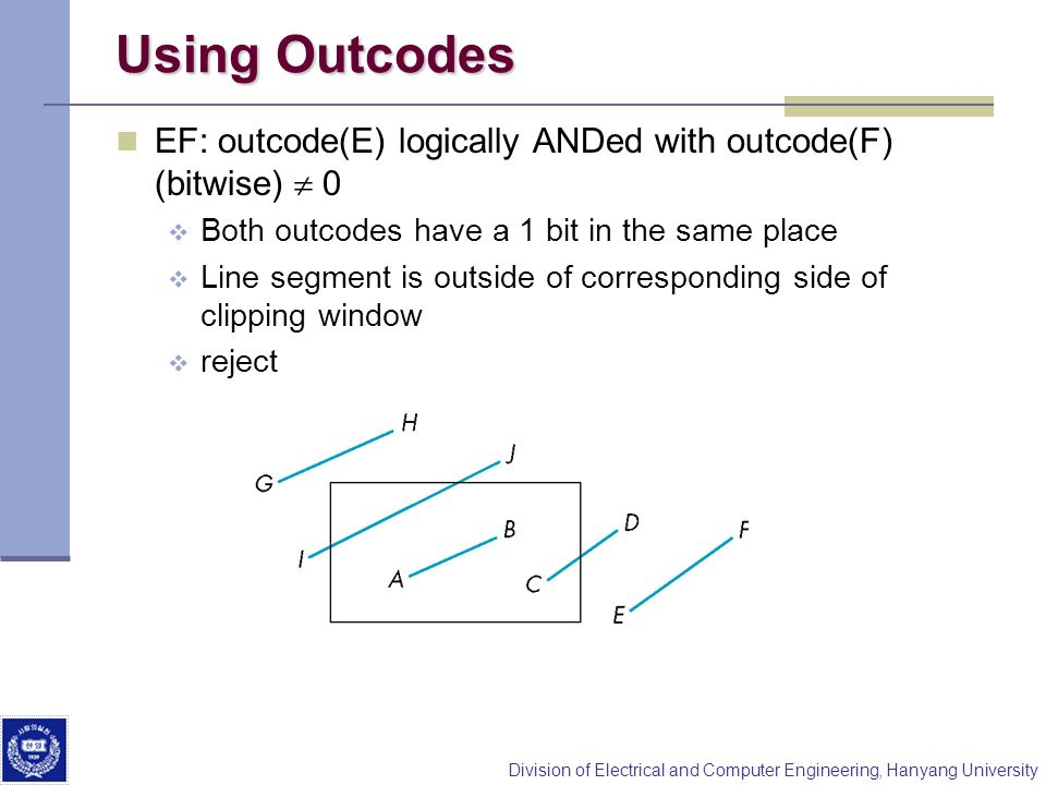 Using Outcodes EF: outcode(E) logically ANDed with outcode(F) (bitwise)  0. Both outcodes have a 1 bit in the same place.
