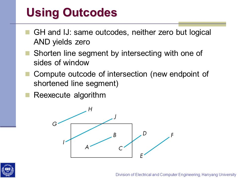Using Outcodes GH and IJ: same outcodes, neither zero but logical AND yields zero. Shorten line segment by intersecting with one of sides of window.