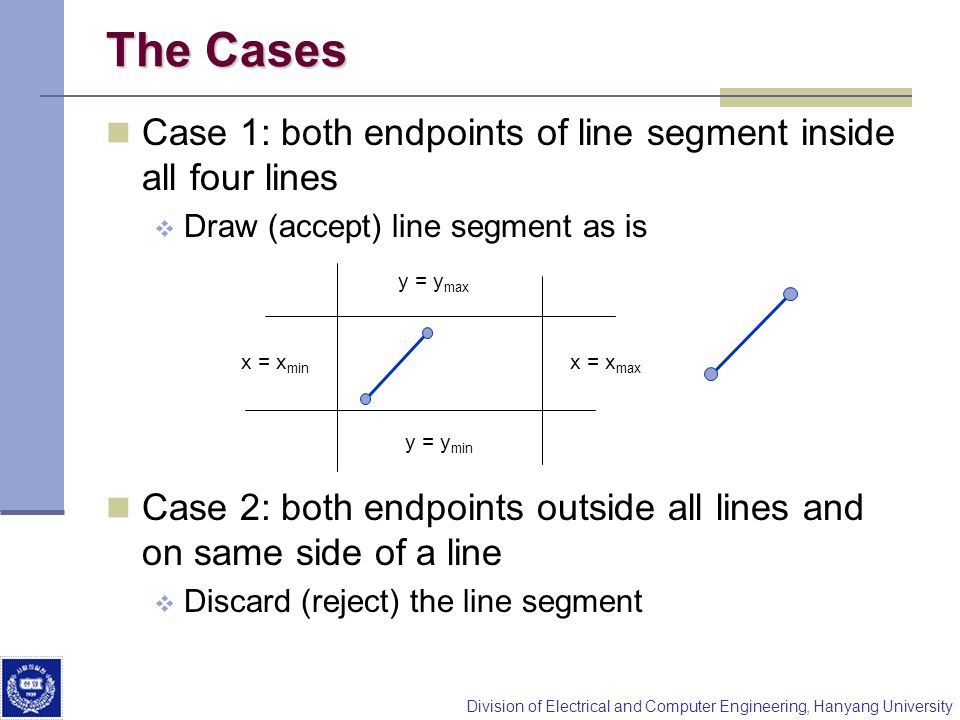 The Cases Case 1: both endpoints of line segment inside all four lines