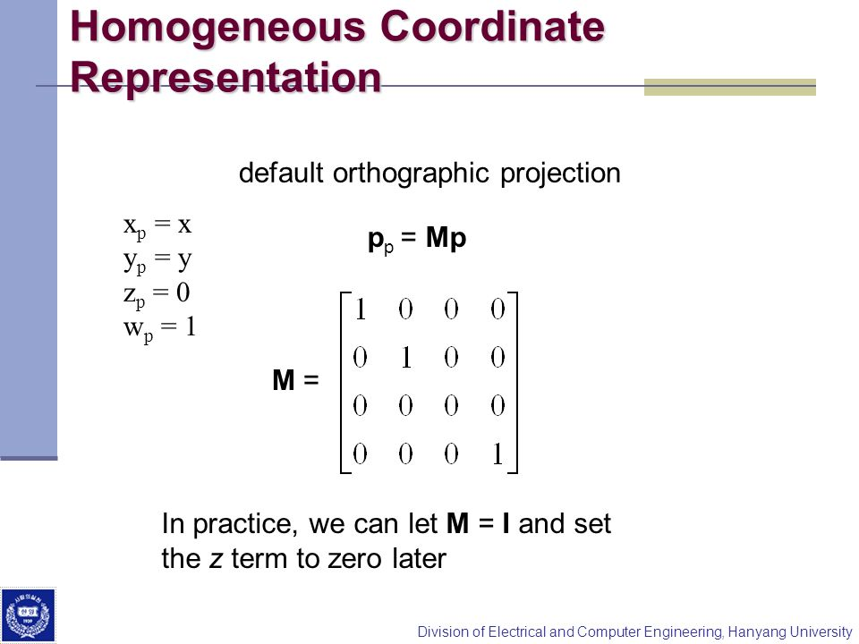 Homogeneous Coordinate Representation