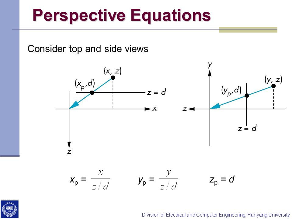 Perspective Equations