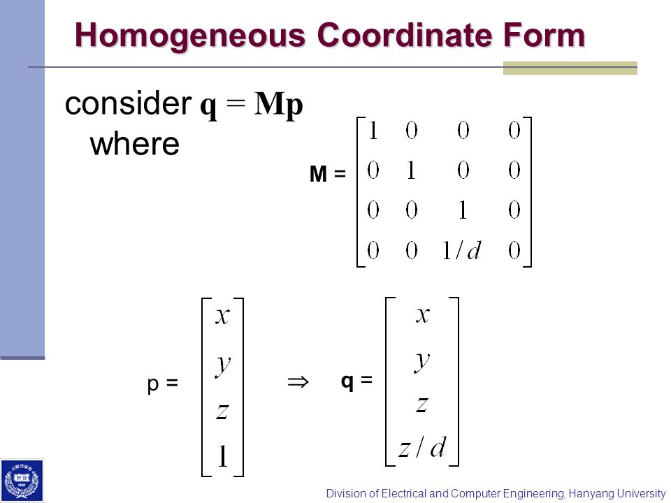 Homogeneous Coordinate Form
