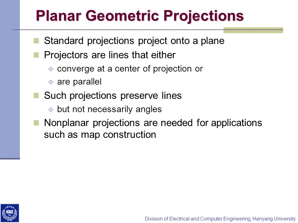 Planar Geometric Projections