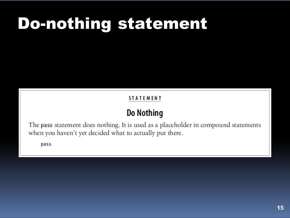 Do-nothing statement