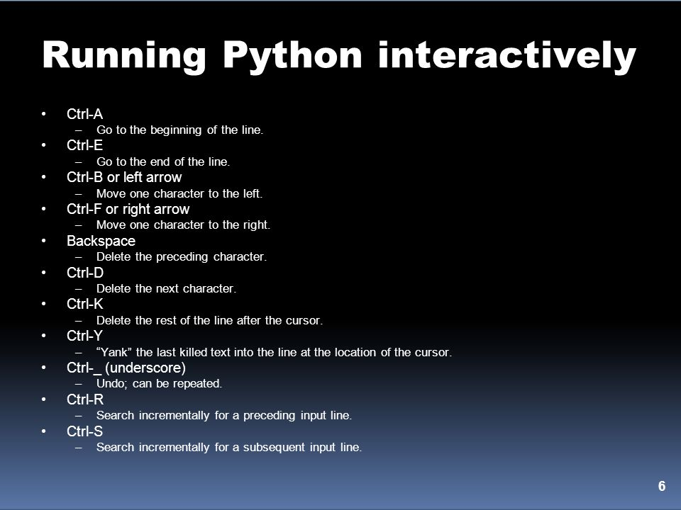 Running Python interactively