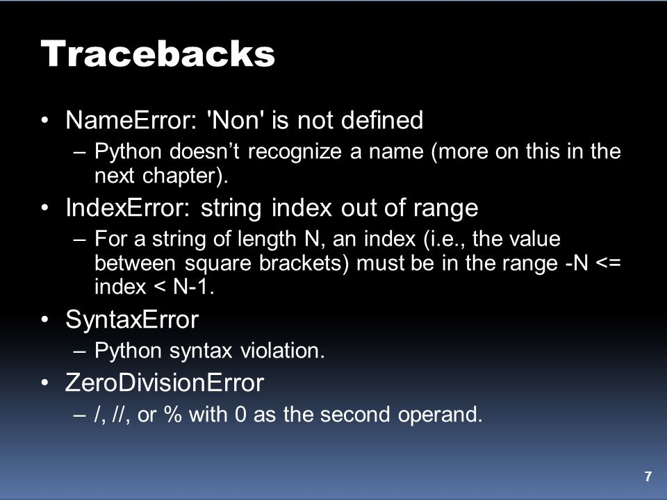 Tracebacks NameError: Non is not defined