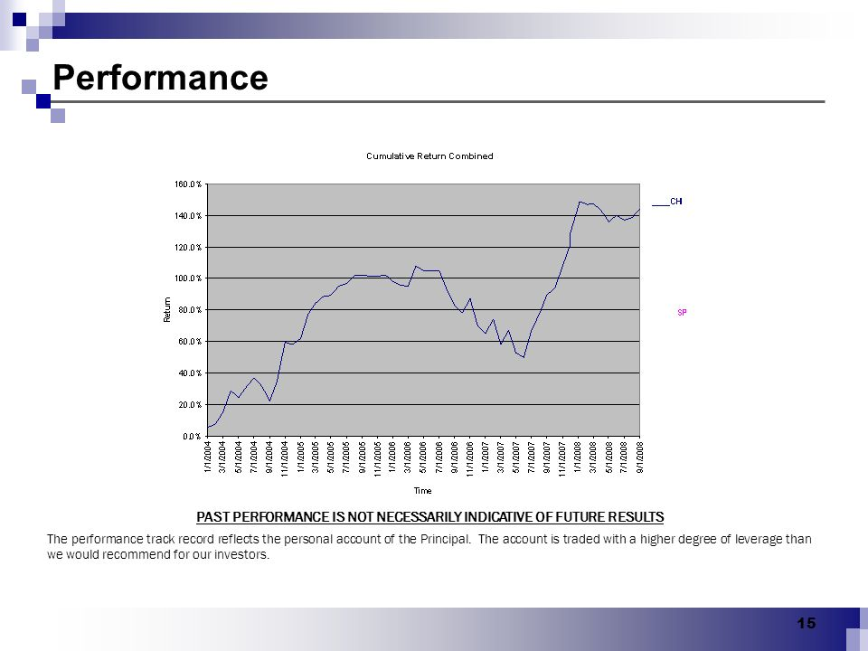 PAST PERFORMANCE IS NOT NECESSARILY INDICATIVE OF FUTURE RESULTS