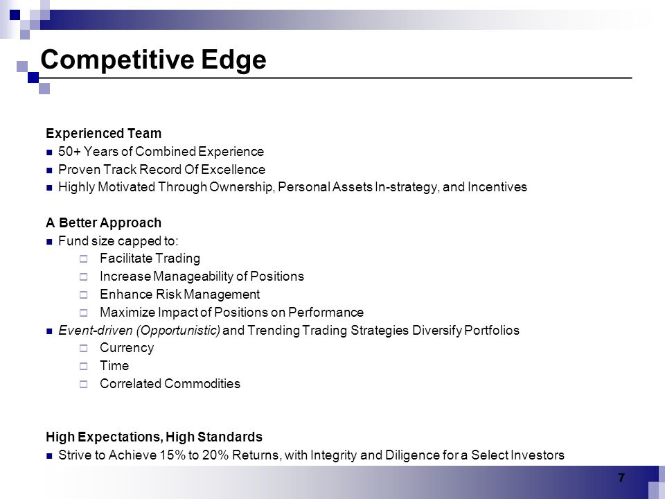 Competitive Edge Experienced Team 50+ Years of Combined Experience