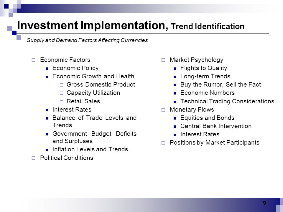 Investment Implementation, Trend Identification