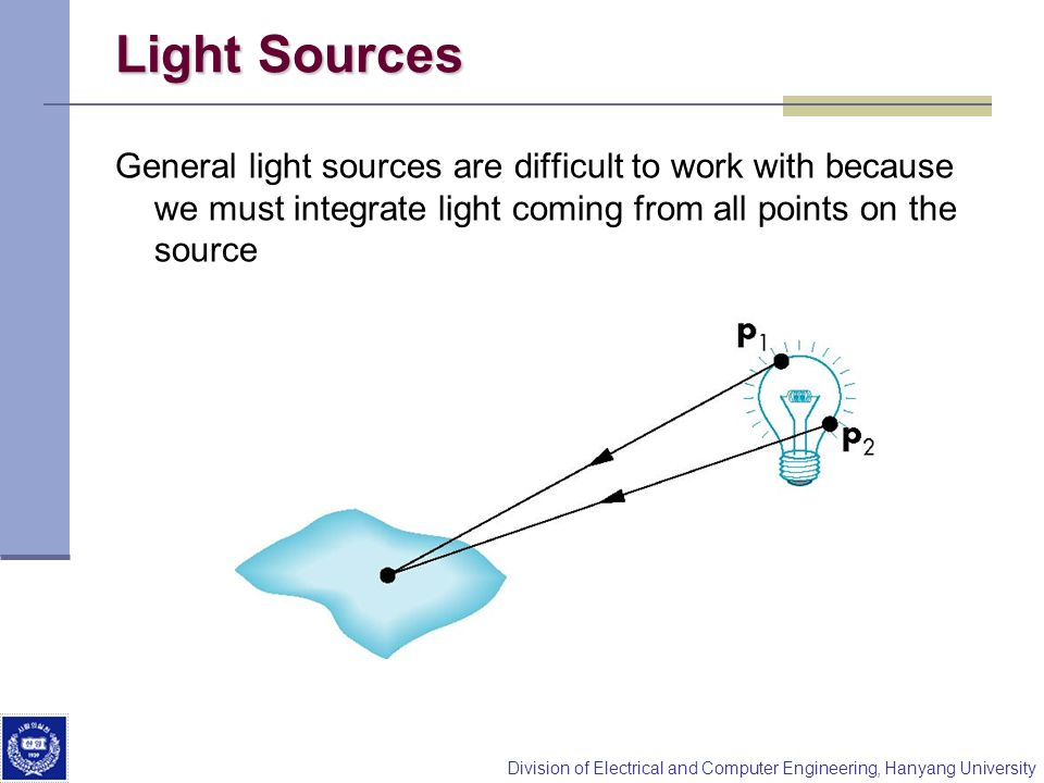 Light Sources General light sources are difficult to work with because we must integrate light coming from all points on the source.