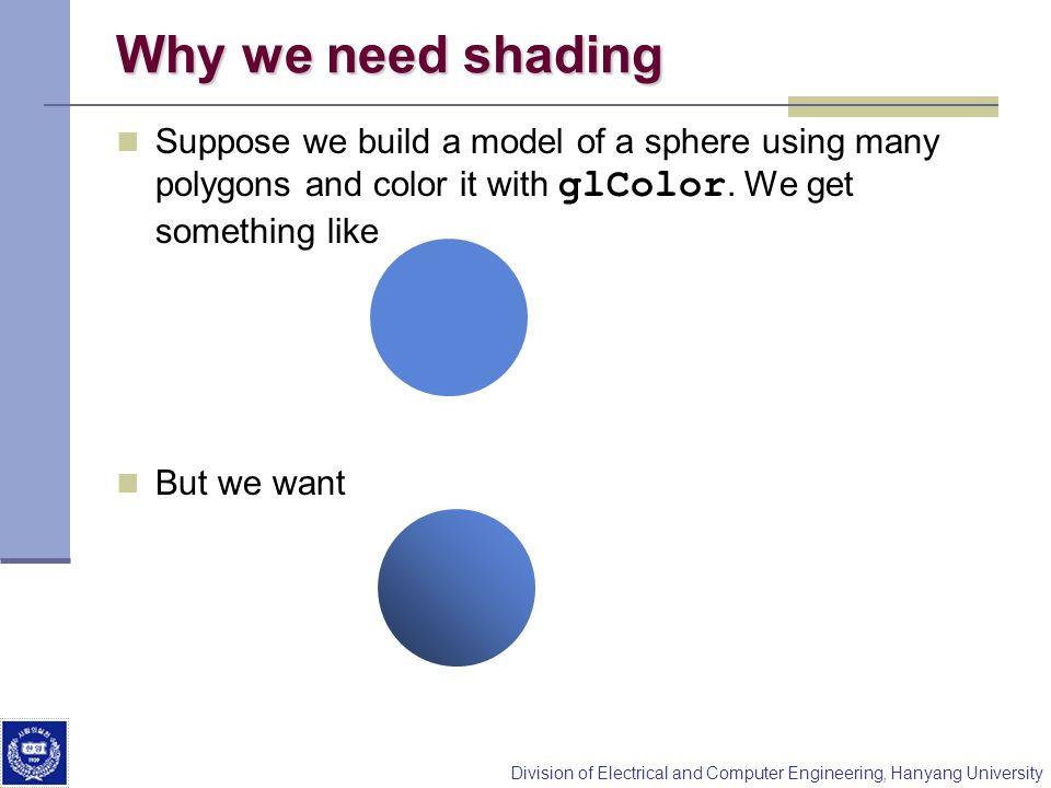 Why we need shading Suppose we build a model of a sphere using many polygons and color it with glColor. We get something like.