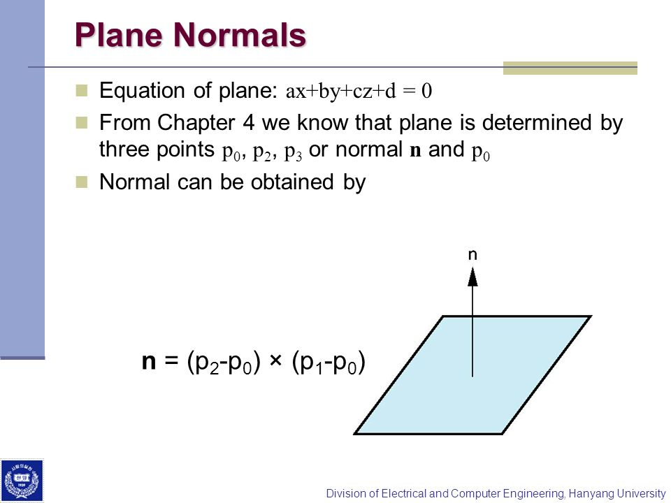 Plane Normals n = (p2-p0) × (p1-p0) Equation of plane: ax+by+cz+d = 0