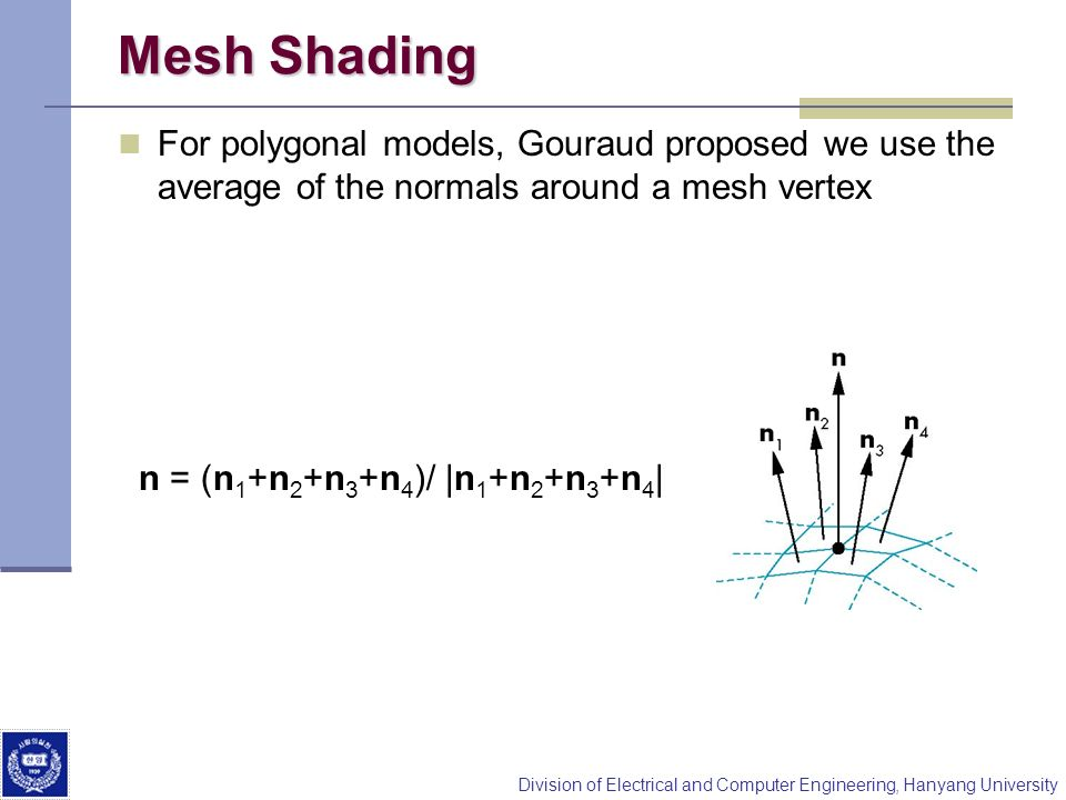 Mesh Shading For polygonal models, Gouraud proposed we use the average of the normals around a mesh vertex.