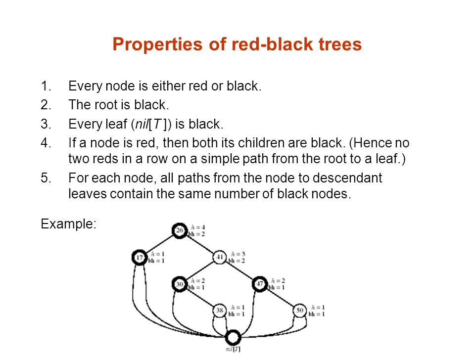 Properties of red-black trees