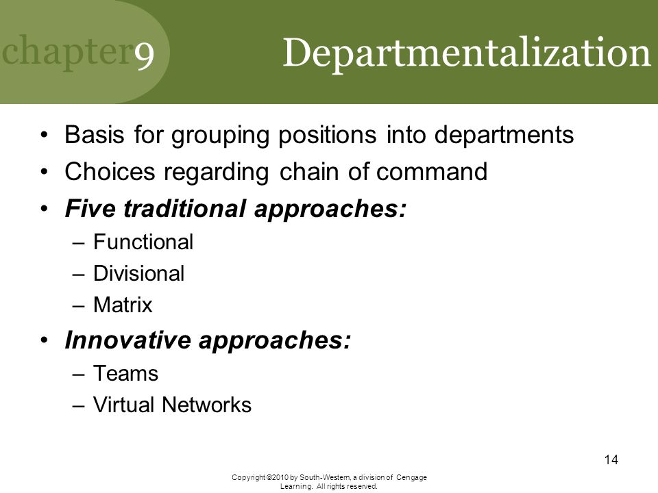 Departmentalization Basis for grouping positions into departments