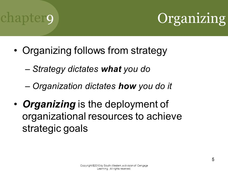 Organizing Organizing follows from strategy