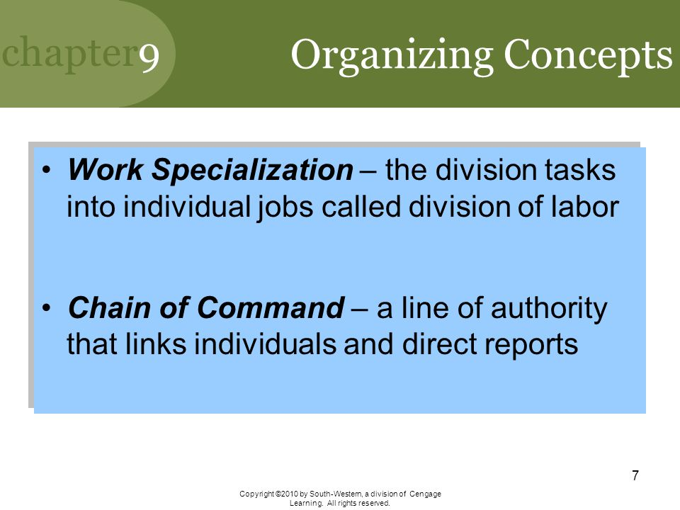 Organizing Concepts Work Specialization – the division tasks into individual jobs called division of labor.