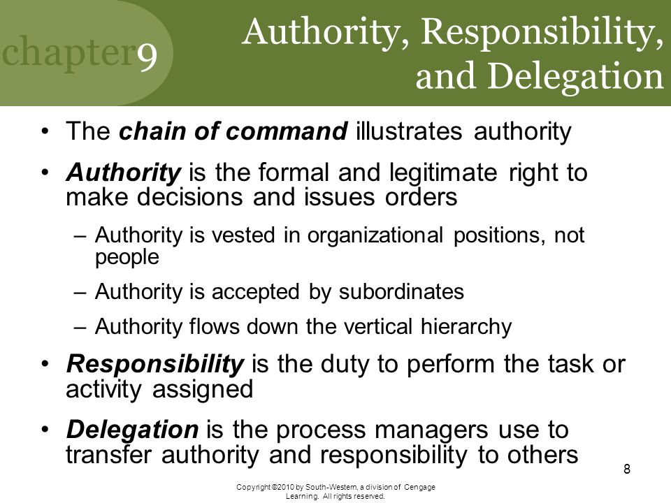 Authority, Responsibility, and Delegation