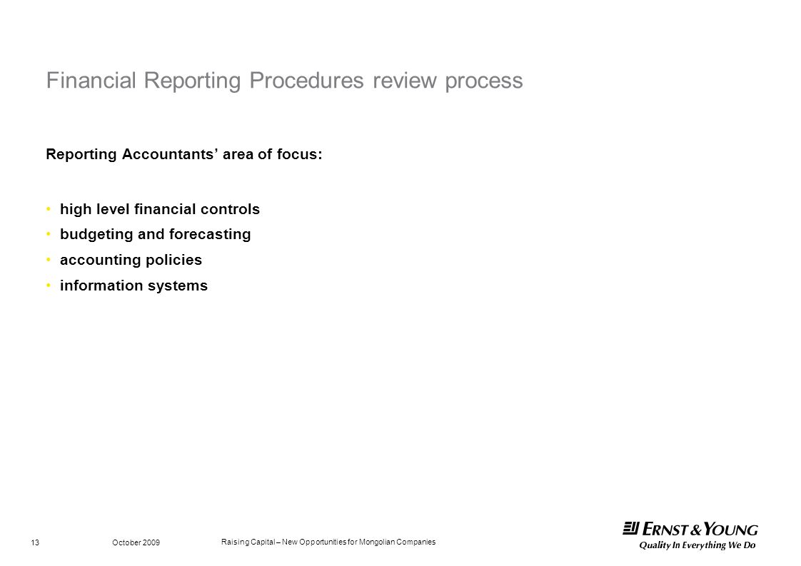 Financial Reporting Procedures review process